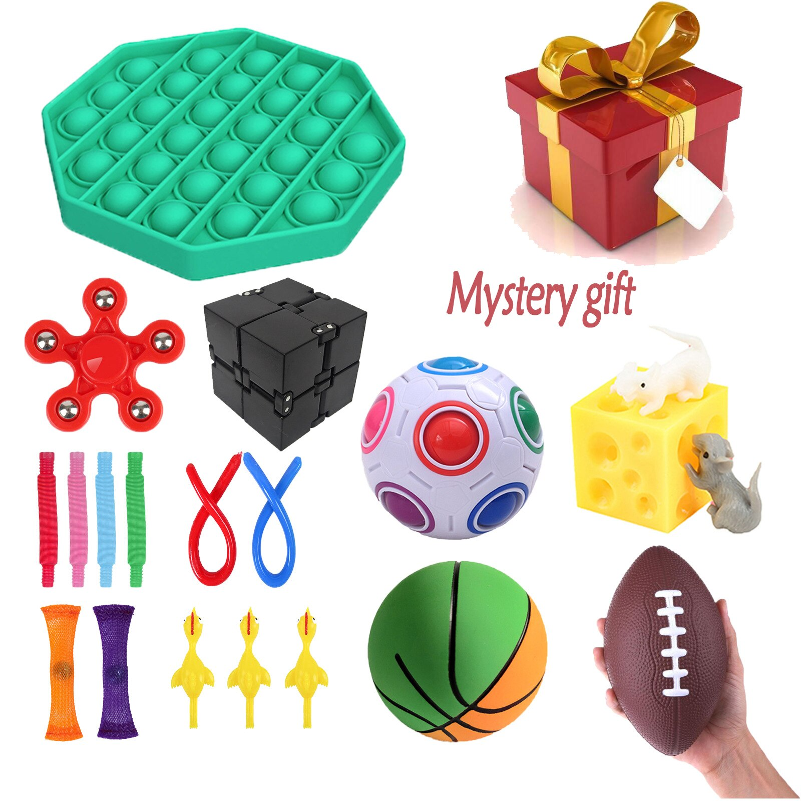 Fidget Sensory Toy Stress Anxiety Relief Autism Toys Set Pops it Bubble Fidget Sensory Toys Decompression Gift For Kids Adults