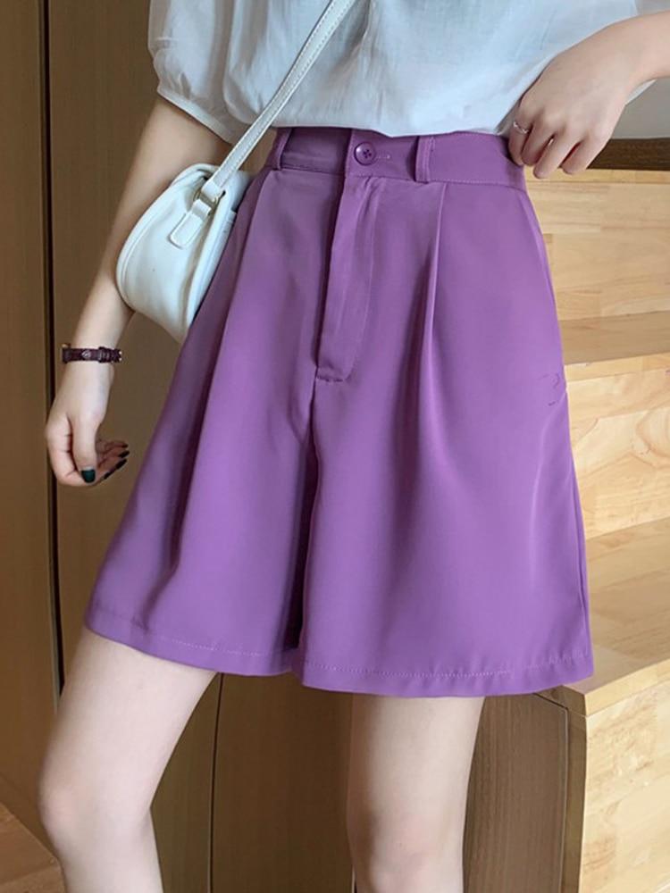 Mulher baggy calças estilo coreano cintura alta harajuku ropa de mujer perna larga estético pantalon femme cintura pantacourt roxo