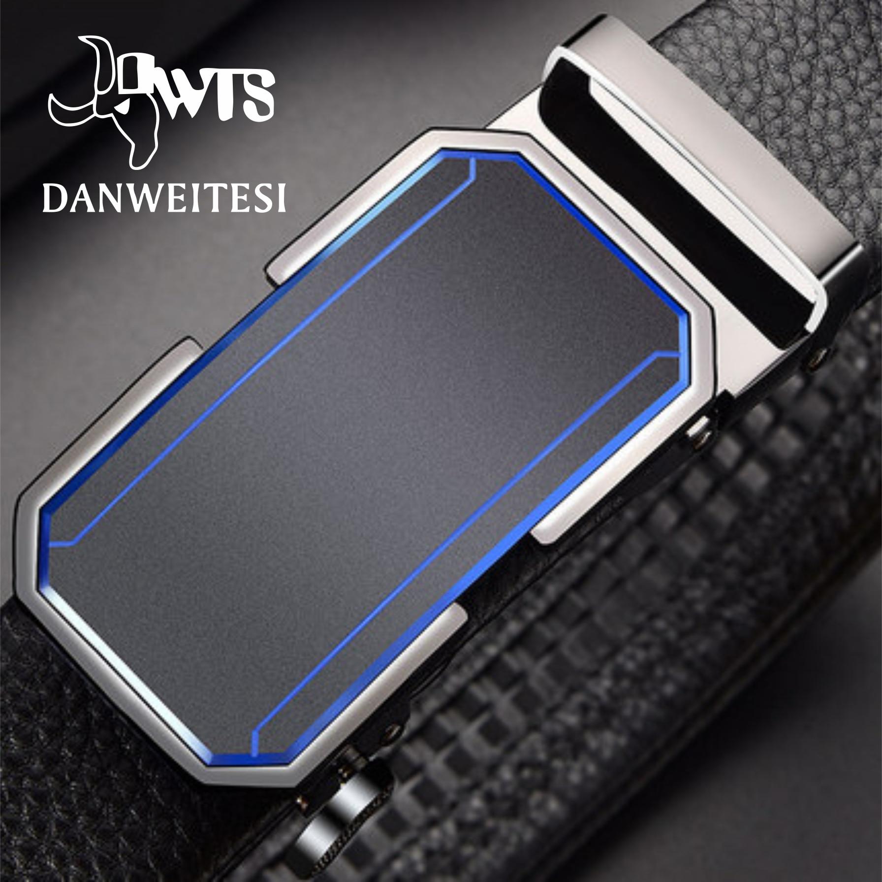 [DWTS]Men Belt Male Genuine Leather Belt Men Strap Belts For Men Automatic Buckle Black Men's Belts
