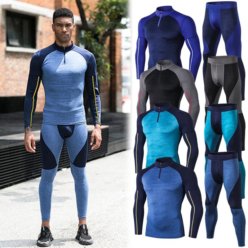Fanceey High Collar Winter Thermal Underwear Men Long Men Rashgard Shirt Leggings Warm Sport Compression Underwear Thermo