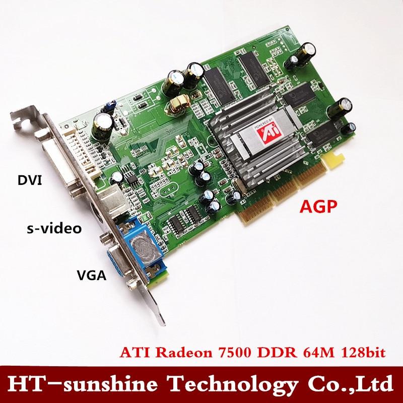Original 64 Sapphire ATI Radeon DDR 7500 M placa de vídeo agp placa de vídeo DVI VGA S-vídeo 1pcs frete grátis