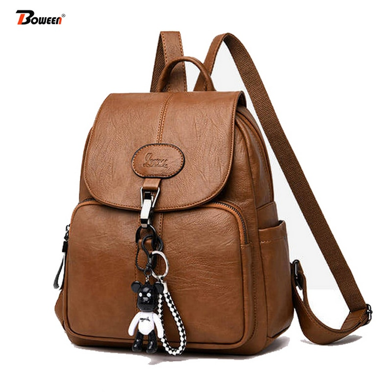 Black Soft Backpack Female Pu Leather Vintage Ladies Backpack Women High Quality 2020 New Youth Bagpack for Teenage Girl Brown