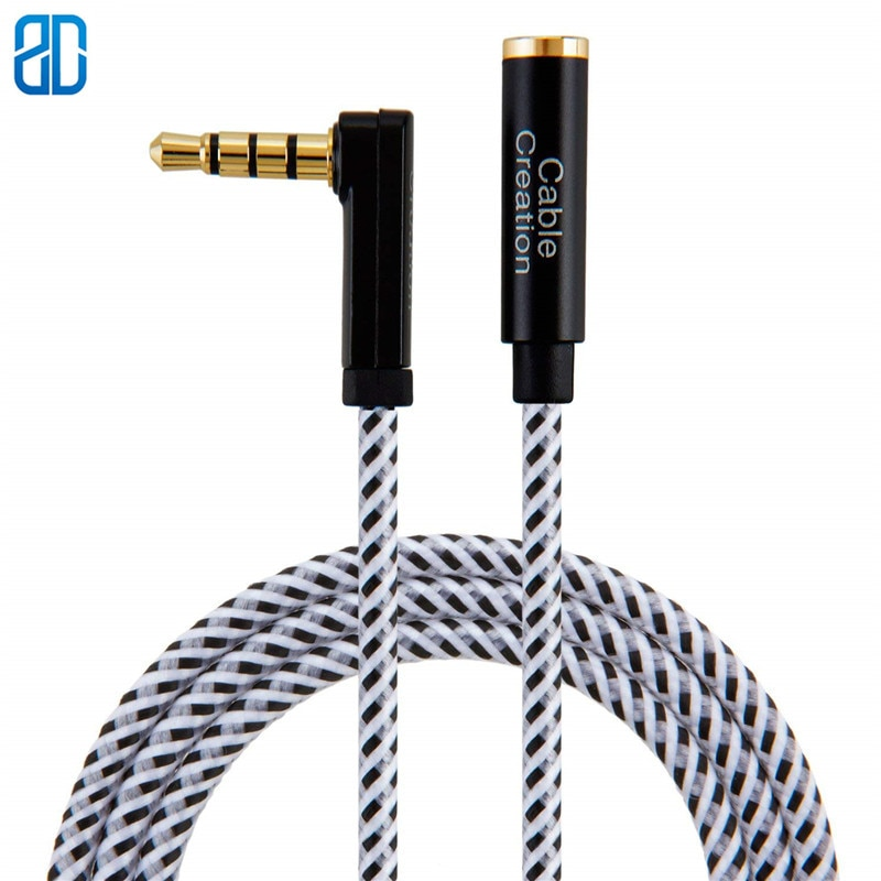 3,5 мм TRRS вспомогательный аудио кабель штекер к женскому Удлинительный стерео аудио кабель 90 градусов правый угол (микрофон совместим)