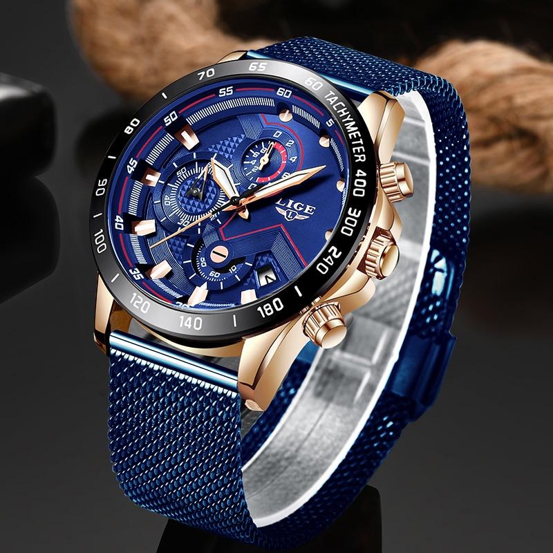 LIGE موضة ساعات رجالي أفضل العلامة التجارية الفاخرة ساعة اليد كوارتز ساعة زرقاء الرجال مقاوم للماء الرياضة كرونوغراف Relogio Masculino