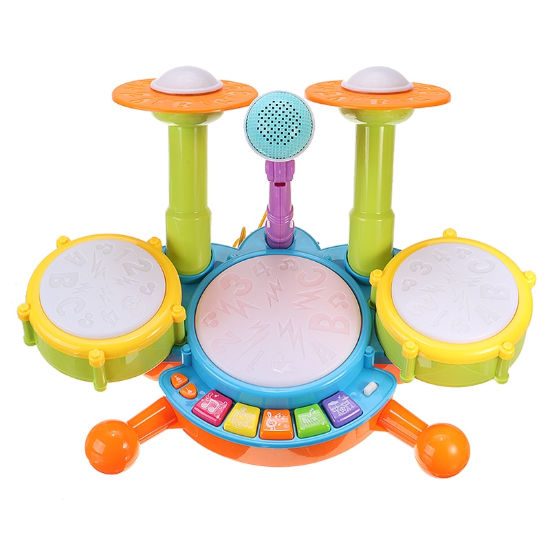 musical toys plastic drum with colorful lights 5 scales key type baby toy for 13 24 months kids educational toys for children Kids Musical Drum Toy Electronic Drum Kit with Adjustable Microphone Instrument Musical Toys Educational Gifts Toys For Children