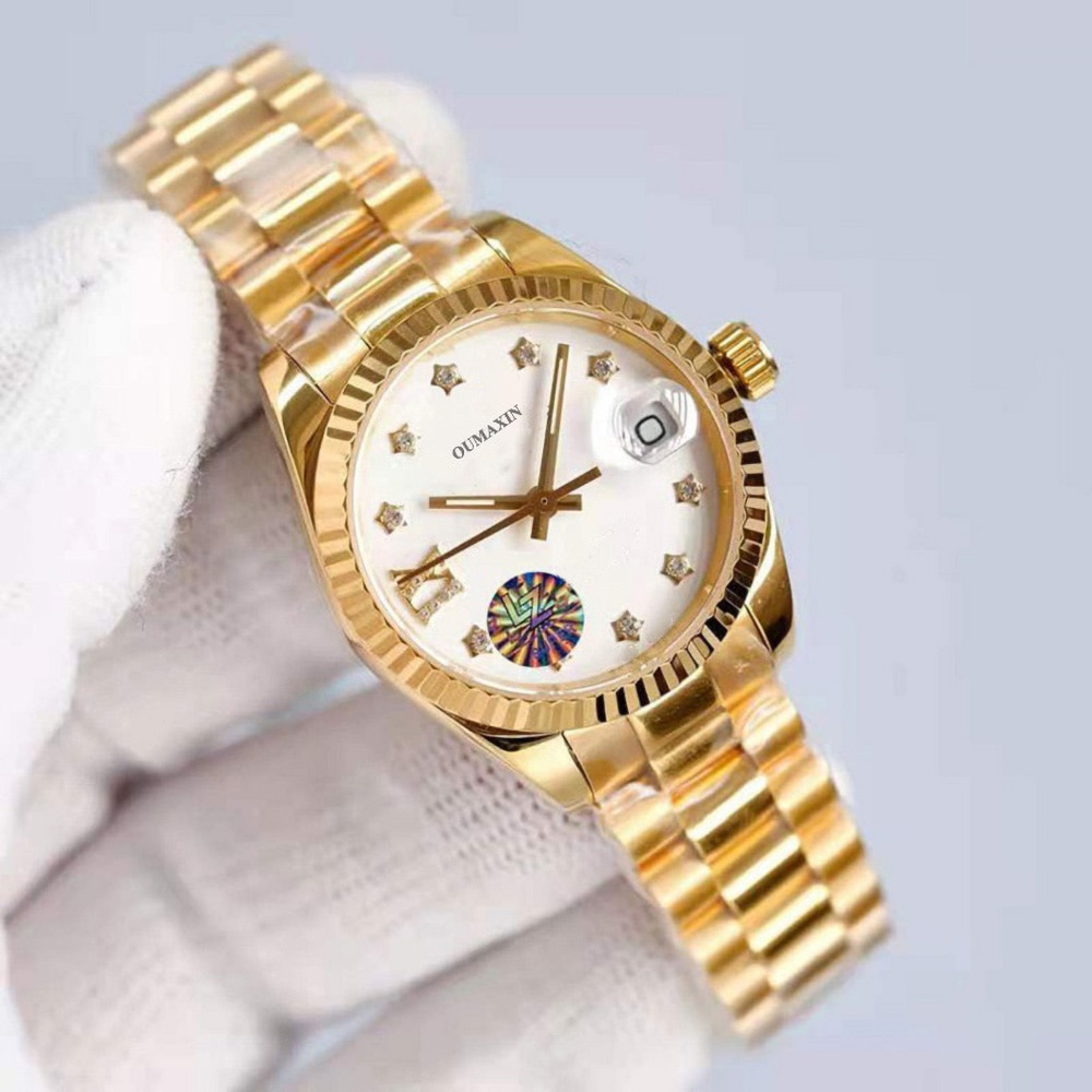 Luxury brand ladies watch automatic mechanical 26.5mm sapphire glass white dial 316stainless steel clock enlarge
