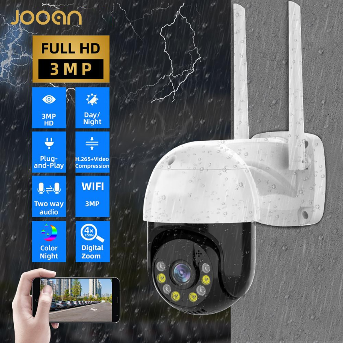 3MP PTZ IP Camera Wifi Outdoor Speed Dome Wireless Wifi Security Camera Pan Tilt 4X Digital Zoom Net