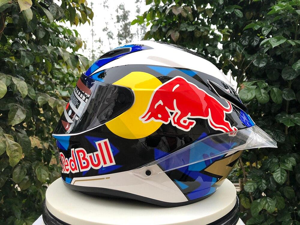 ¡Novedad de 2020! casco de moto de cara completa rojo-bu ll con gran cola de Motocross casco de carreras de motociclismo de cuatro estaciones