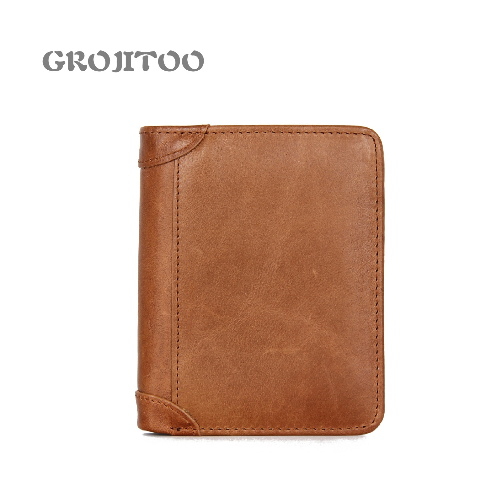GROJITOO Men's wallet genuine leather Crazy Horse leather men's wallet anti-theft brush men's wallet