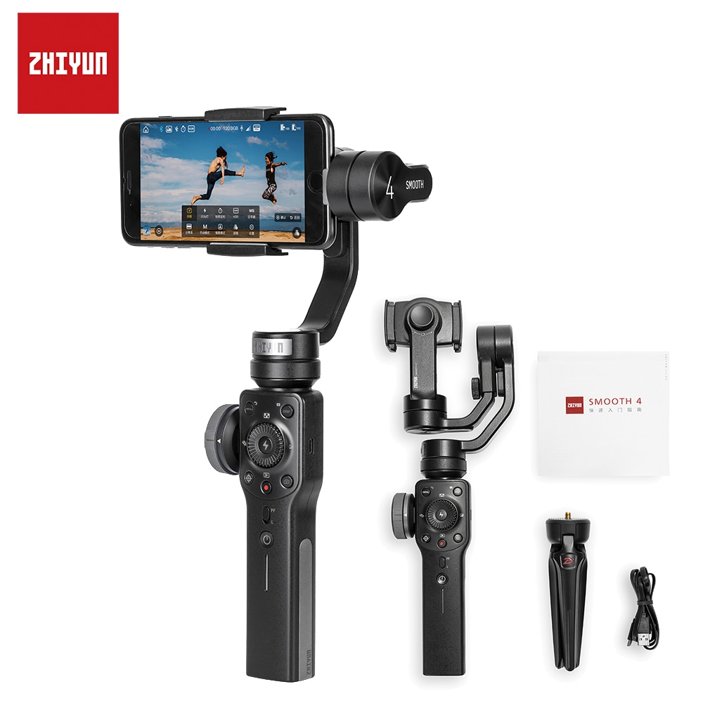 ZHIYUN Smooth 4 3-Axis Phone Gimbals Handheld Stabilizers for Smartphones iPhone/Samsung/Huawei/Xiaomi/Action Cameras