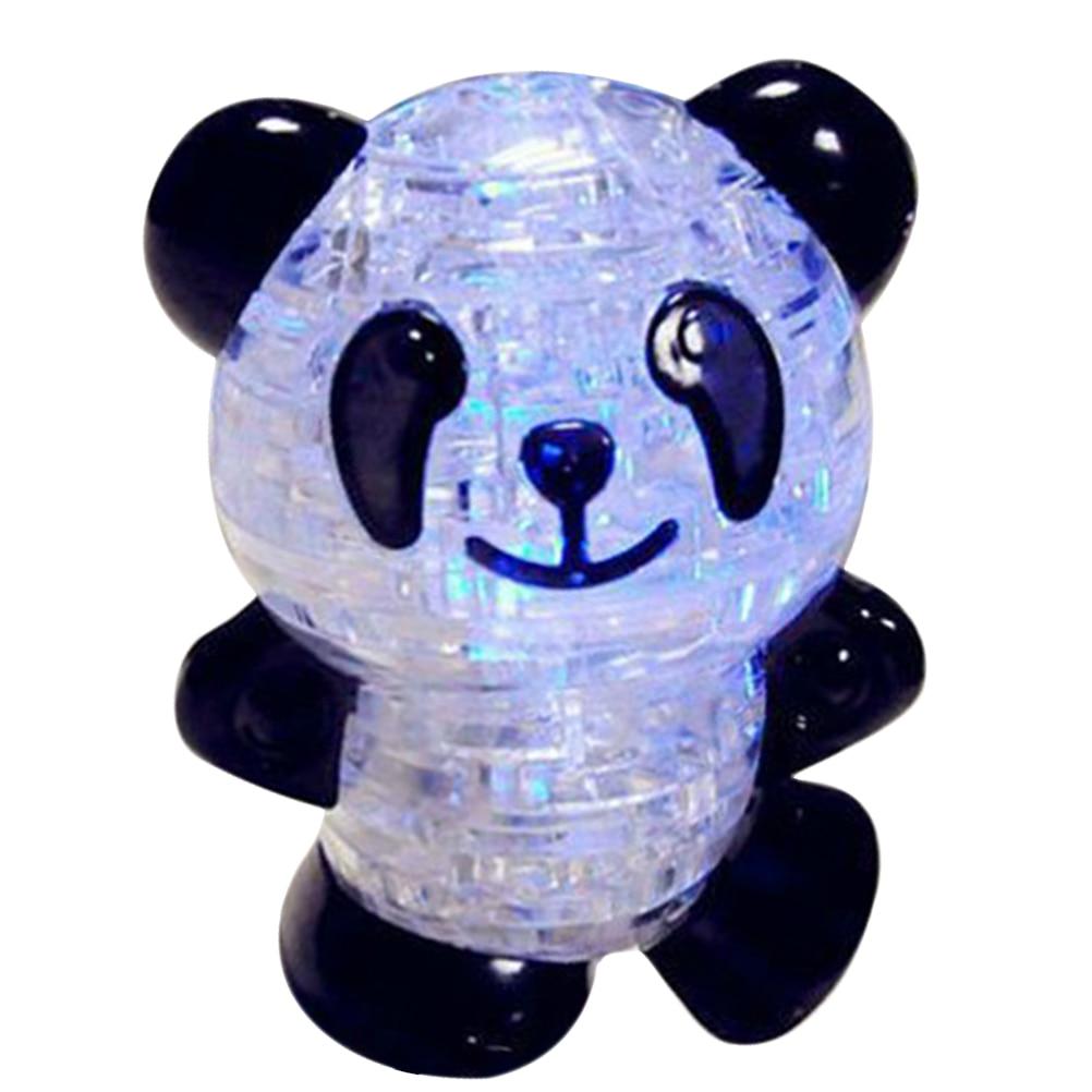 DIY puzle juguetes brillantes de cristal 3D modelo de juguete de Panda brillante, rompecabezas de Animal intelectual, modelo de Panda, juego de rompecabezas para niños