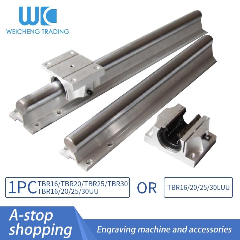 السكك الحديدية الخطية 1 قطعة TBR16/TBR20/TBR25/TBR30 + 100 إلى 1150 مللي متر و 1 قطعة TBR16/20/25/30UU أو TBR16/20/25/30LUU دليل كتلة لأجزاء التصنيع باستخدام الحاسب الآلي.