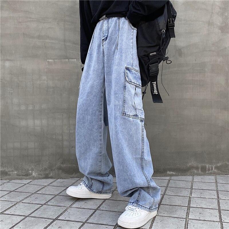 الشارع الهيب هوب اليابانية وسيم ins كبيرة الحجم غسل المياه جيب كبير ملابس العمل واسعة الساق أبي الجينز الرجال والنساء