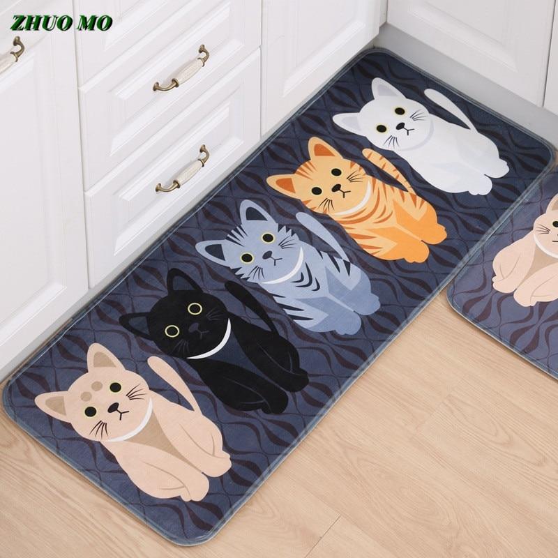 سجادة ترحيب Kawaii غير قابلة للانزلاق ، سجادة أرضية مطبوعة على شكل حيوانات قطة ، للمطبخ والمطبخ وغرفة المعيشة