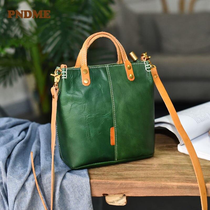 PNDME fashion simple retro Genuine leather ladies small handbag daily outdoor natural real cowhide one-shoulder diagonal handbag