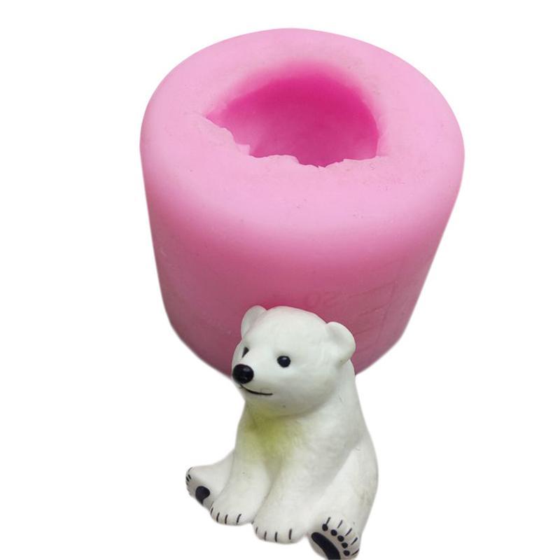 Lindo arte 3D Oso Polar yeso de aromaterapia coche pantalla molde de vela de yeso decoración de la torta del molde de silicona para manualidades