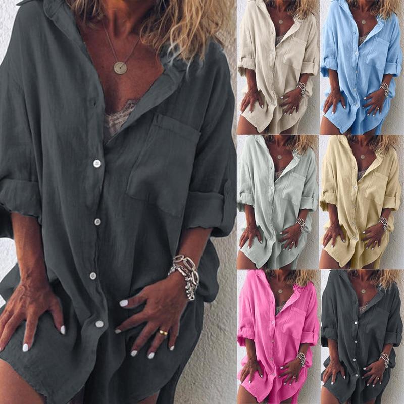 Fashion Long Shirt Long Sleeve Lapel Female Cardigan Black Pink Women's Blouses Cotton Linen Oversized Shirts European Clothes