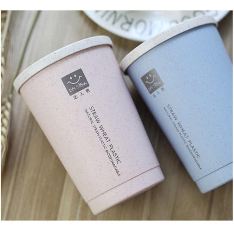 TTLIFE 280ml aislamiento de doble pared de Fibra de trigo pajita taza de café agujero a prueba de fugas para tienda en casa Taza de Viaje a prueba de fugas