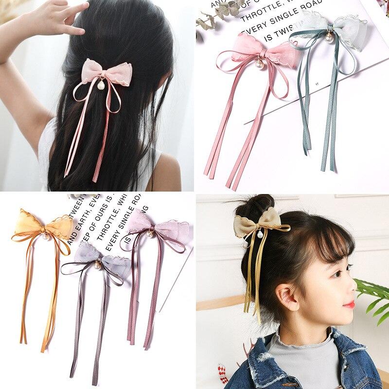 Accesorios de borla para el pelo de los niños 1 pieza de encaje hilo estrellas colgantes borla lazo horquilla niñas tocado accesorios para el cabello
