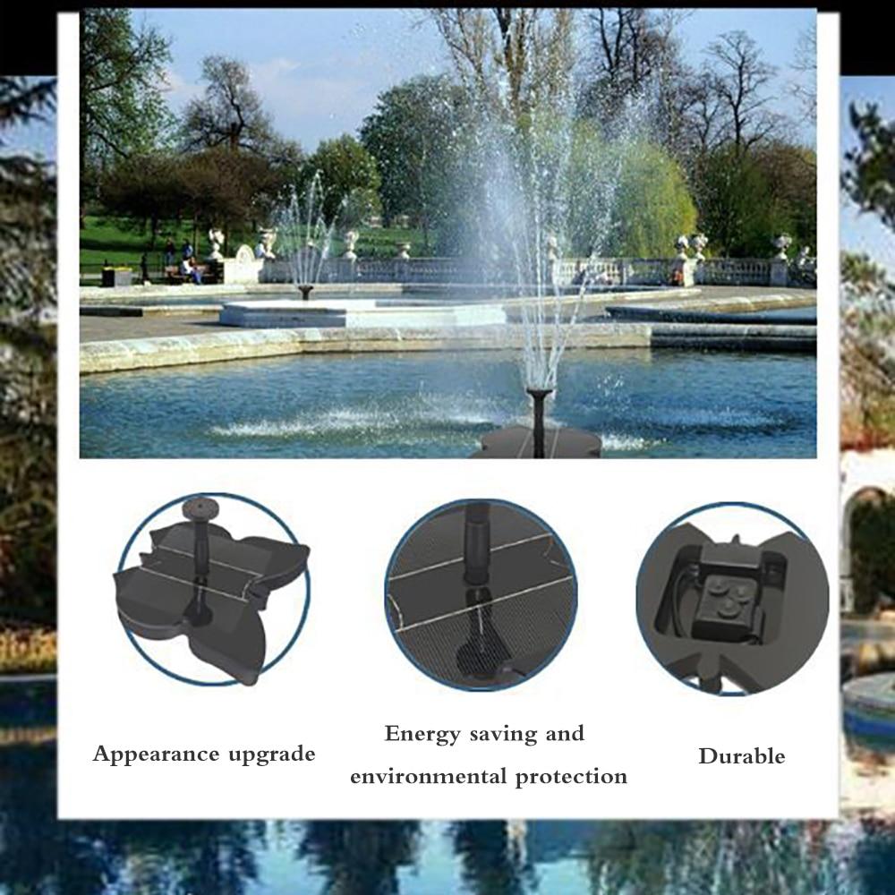 Bonito aspersor en cascada Solar, fuente de cascada Solar con 4 cabezales de soplado diferentes para piscina, jardín, patio, fuente