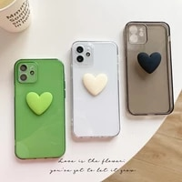 lens protection fashion 3d love heart soft phone case for iphone 12 11 pro xs max xr x 7 8 plus se 2 silicone clear back cover