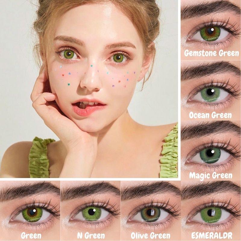 Bio-esencia 2 Pcs/pairs ojo lentes de contacto para los ojos Verdes lentes...