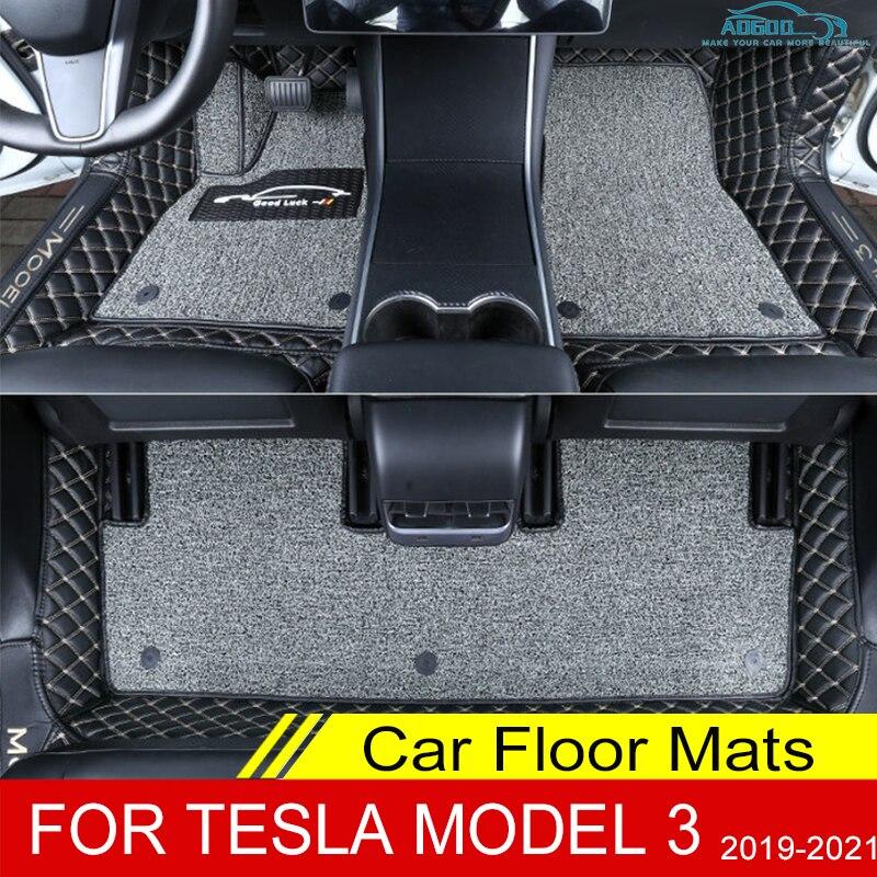 Автомобильные коврики для Tesla Model 3 2019 2020 2021, двухслойные, под заказ, автомобильные накладки на ножки, коврик, крышка, аксессуары для украшения...