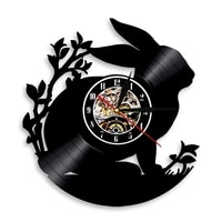 rabbit silhouette wall clock woodland animal nursery art baby room vinyl record wall clock bunny decorative clock gift for kids