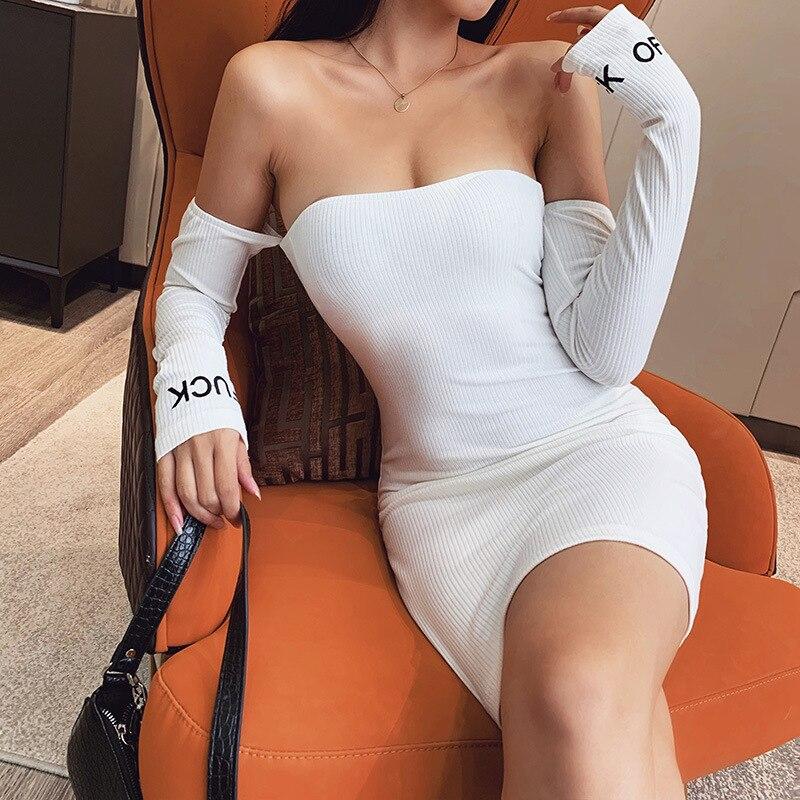 ¡Novedad de 2020! Vestido con cuello oblicuo, Top recto y sexi para mujer, vestido de Otoño de cintura alta ajustado con bordado del alfabeto, falda Halter