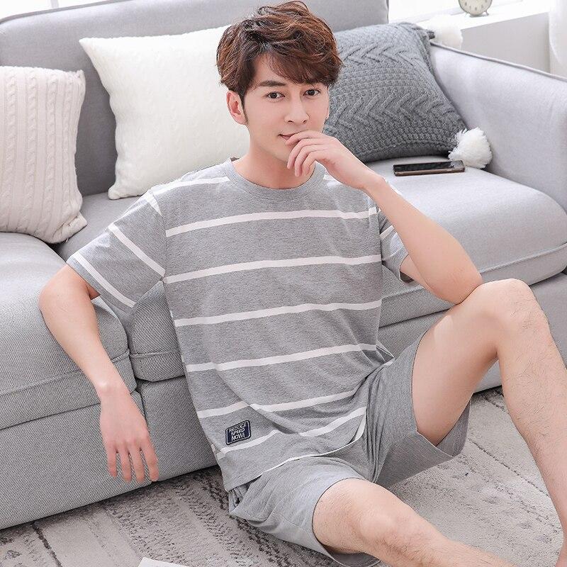 Пижамный комплект Мужской Хлопковый в полоску, повседневная одежда для сна с коротким рукавом, домашняя одежда, костюм для отдыха, домашняя ...
