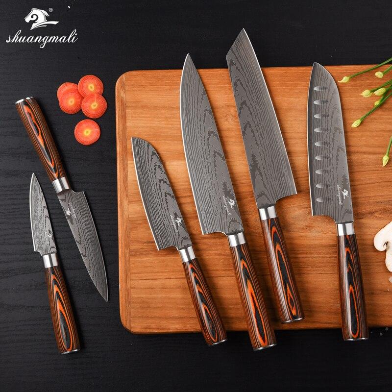 Shuangmali 6 pçs cozinha cozinhar chef conjunto de faca 420 aço inoxidável facas do chef utilitário aparas gyuto cutelo santoku facas conjunto