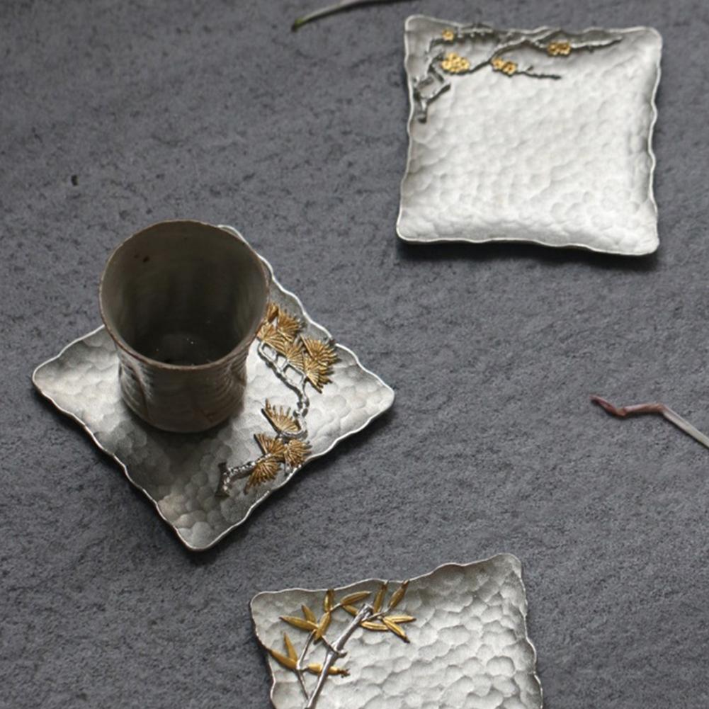 Insulated Tin Placemat Coasters Flower Print Tea Cup Mat Practical  D ecorative Mug Pad Holder Table Decoration
