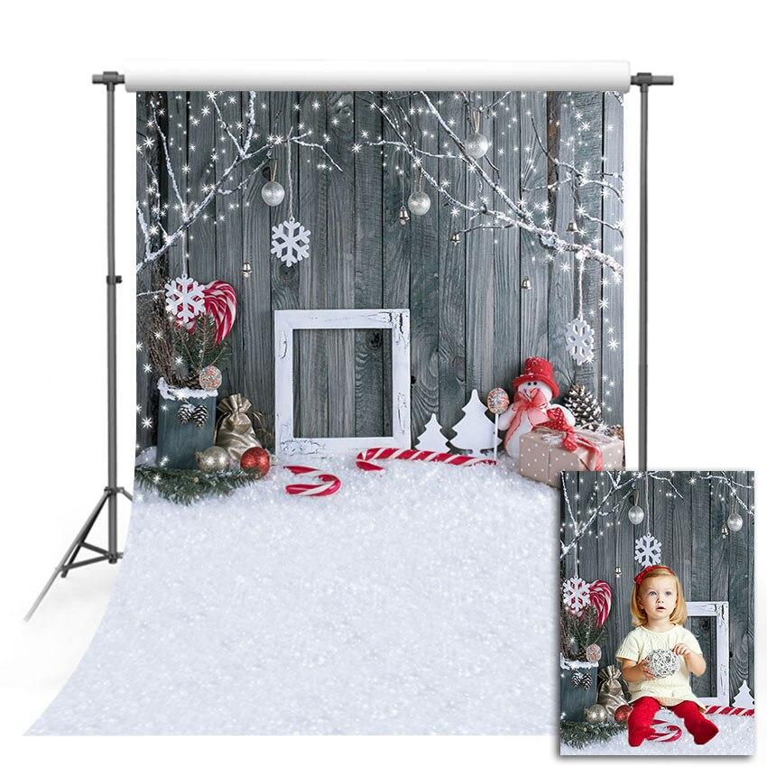 Mehofond natal backdrops boneco de neve moldura da foto cinza madeira presente parede meia floco fotografia fundos para estúdio foto