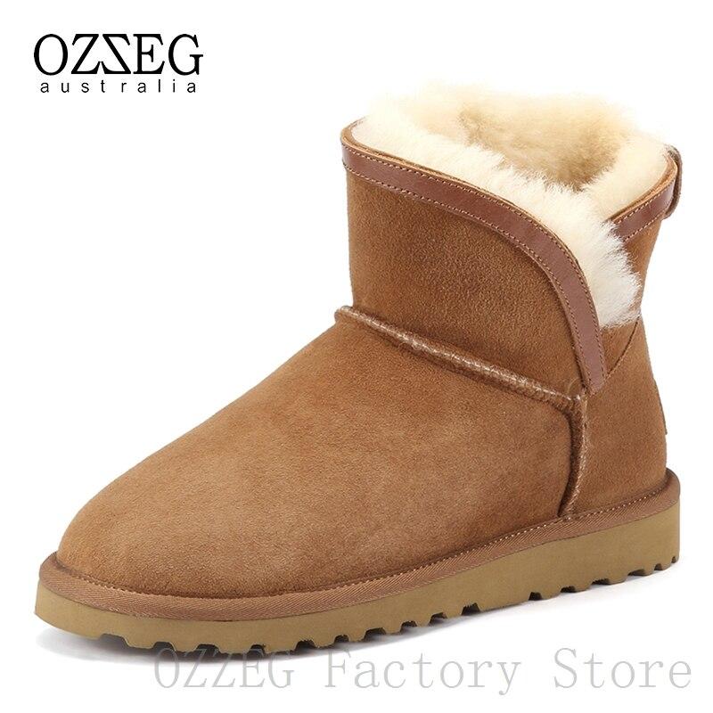 Ozzeg marca de luxo clássico botas de neve de couro real austrália botas femininas botas de pele de ovelha tornozelo para as mulheres sapatos de inverno calçados