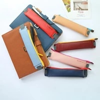 luxury pu leather elastic buckle pencil case for book notebook fashion pen bag school pen case for office meeting easy carry
