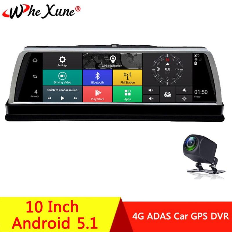 "WHEXUNE 2019 nuevo coche DVR Dashcam 4G ADAS Android 10 ""Consola Central espejo GPS WiFi Full HD 1080P cámara de vídeo de doble lente trasera"