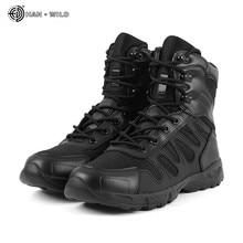 Botas militares táticas, botas militares táticas para homens de couro, à prova d água, uso no deserto, combate, sapatos de trabalho, tornozelo, outono inverno, respirável