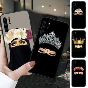 Hijab niqab islam Muslimah Girl black soft phone case for Huawei P9 lite 2016 2017 P 10 P20 PRO P30 P40 lite P smart 2019 2020