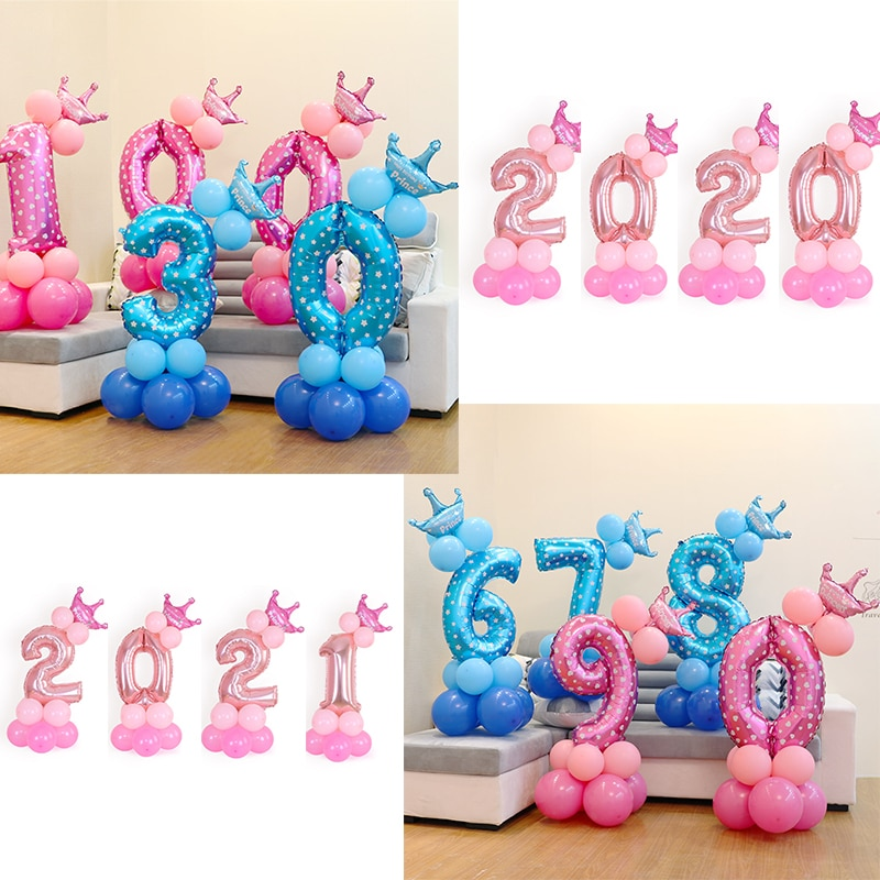 13Pcs/set Birthday Party Balloon Colorful Number Foil Balloons Baby Shower Kids Decorations