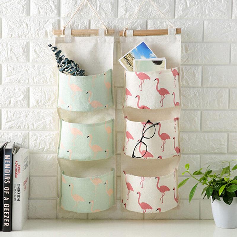 New Flamingo Pattern Cotton Linen Hanging Storage Bag 3 Pocket Wall Mounted Wardrobe Hang Bag Wall Pouch Cosmetic Toys Organizer