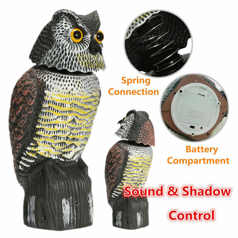 New Hot Sale Realistic Bird Scarer Rotating Head Sound Owl Prowler Decoy Protection Repellent Pest C