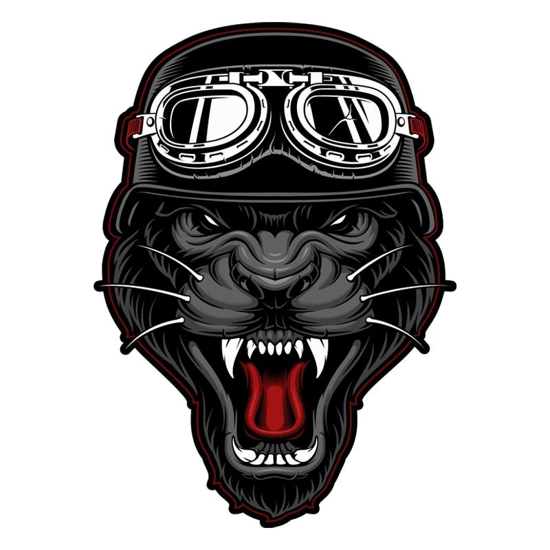 Leopardo motorista mascota ilustración lucky sportsman 883 pegatina de la motocicleta #711
