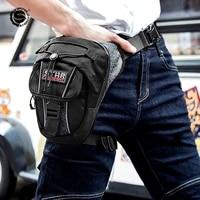 sfk black stylish unisex polyester motorcycle racing leg bag reflective print motorbike riding waist bag motocross accessoies