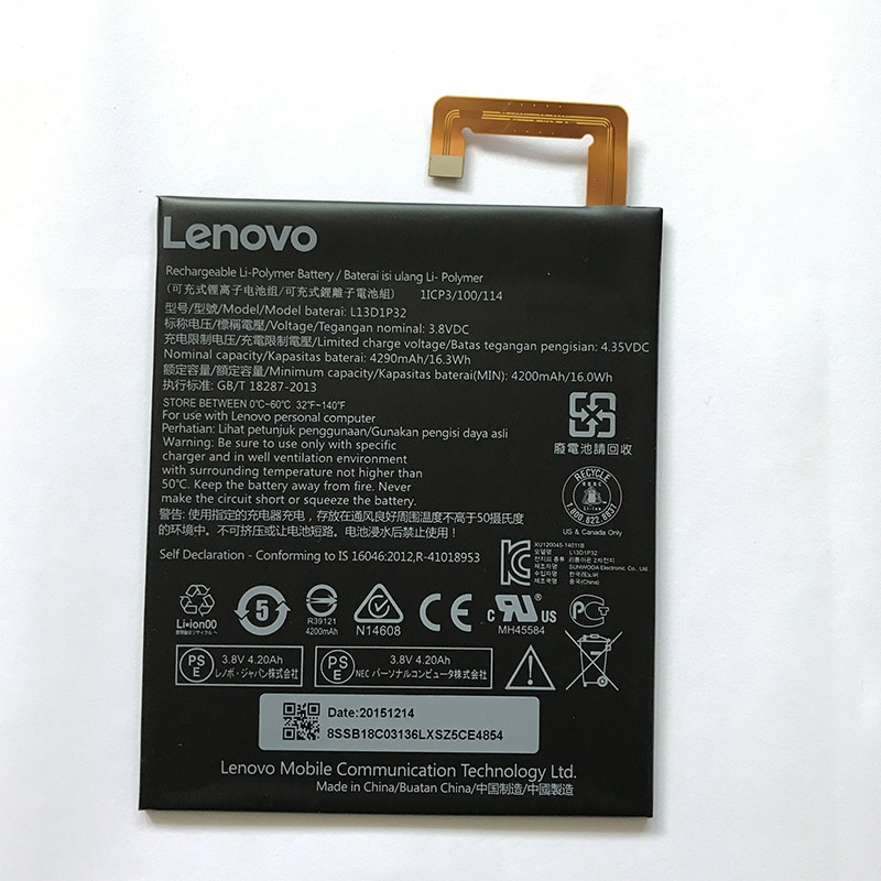 Original L13D1P32 4290mAh para Lenovo Lepad A8-50 A5500 Tab S8-50 en Stock última batería de producción + número de seguimiento