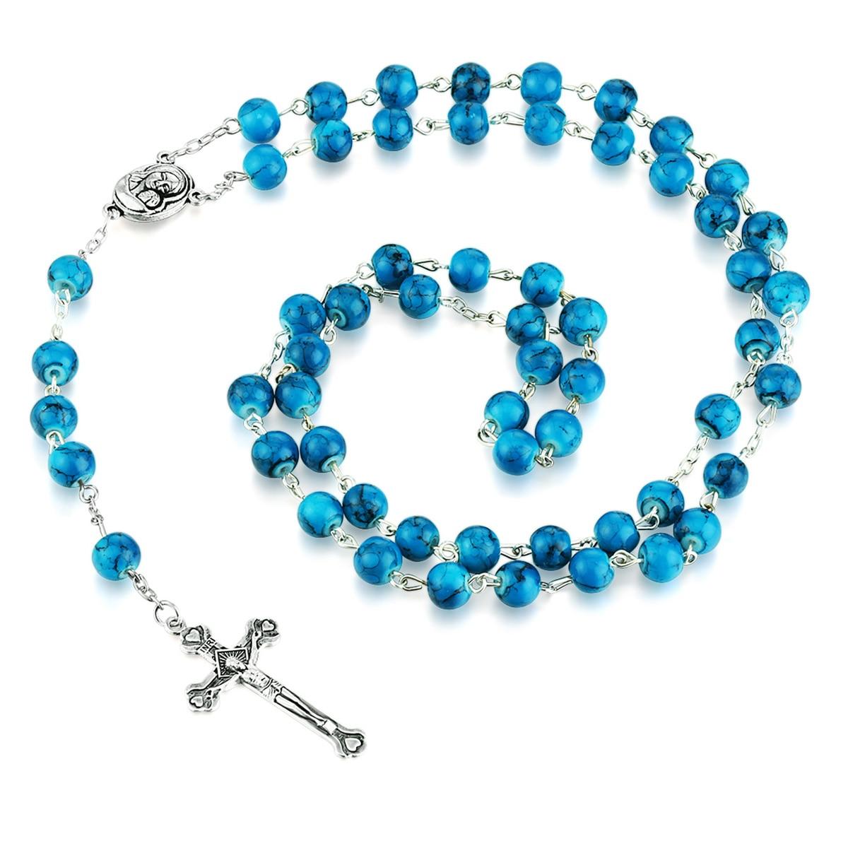 Rosario cuentas collar católico medalla de Tierra Santa collar de colgante de Cruz regalos religiosos Rosarios para mujeres Bless Virgen María MN295