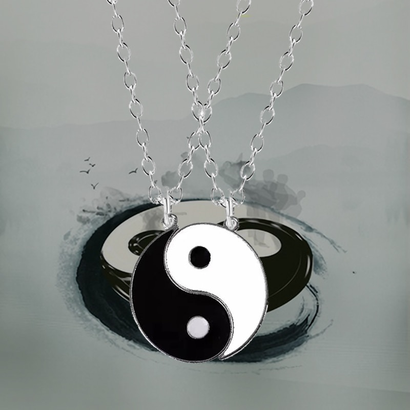 1 Pair Tai Chi Paired Couple Pendants Necklace for Men Women Best Friends Yin Yang Pendant Necklace Fashion Jewelry Gifts недорого