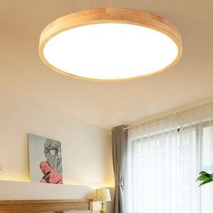 Japanese-style Minimalist Wooden LED Ceiling Lamp Multi-power Eye Protection Lamp for Master Bedroom Living Room Study Tea Bar