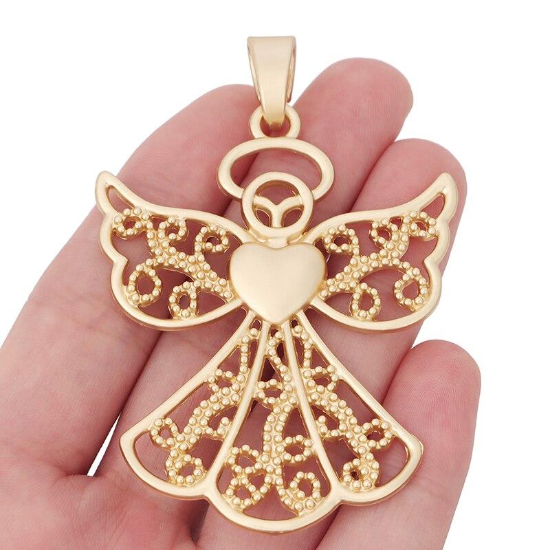 Breloques en or mat, grand ange gardien, pendentifs pour collier, accessoires de fabrication de bijoux, 80x54mm, 1 x mode