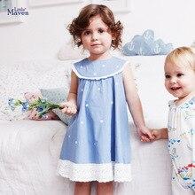 Little maven 2020 Dress Girls Sleeveless Tops Clothes Dot Blue Kids Princess Dresses Summer Children's Clothing Cotton