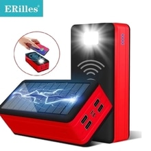 100000mAh Wireless Solar Power Bank Portable Charger Large Capacity 4USB LEDLight Outdoor Fast Charg